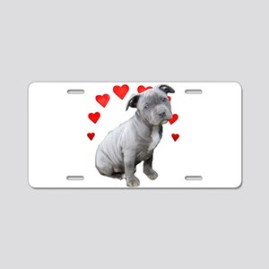 Valentine's Pitbull Puppy Aluminum License Plate