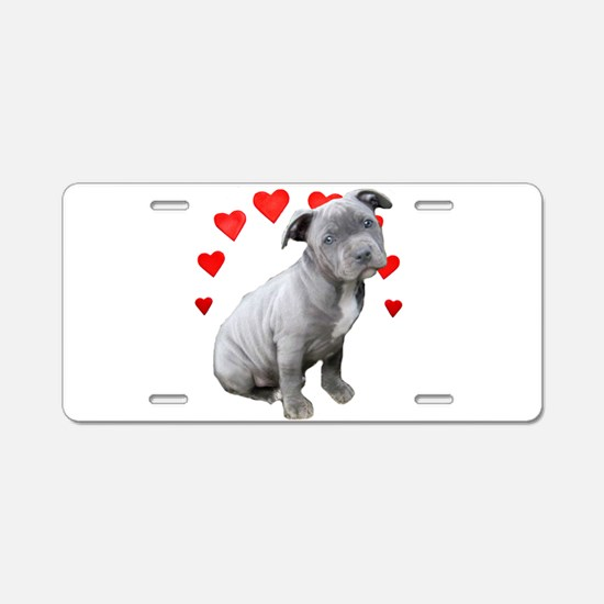 Valentine's Pitbull Puppy Aluminum License Plate