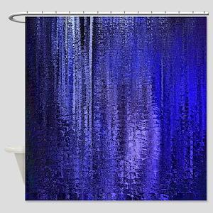 Abstract Blue Rain Shower Curtain