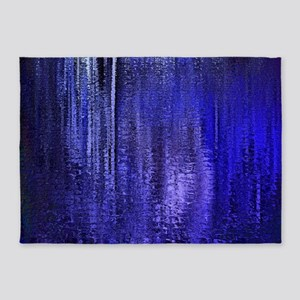 Abstract Blue Rain 5'x7'Area Rug