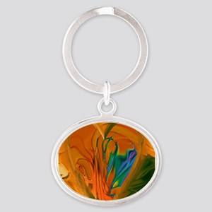 Abstract Heart Oval Keychain