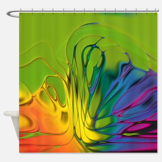 Abstract Wave Shower Curtain