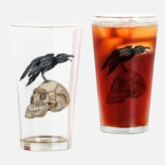 Cute Raven skull Drinking Glass