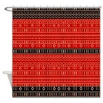 Red And Black Modern Mudcloth Shower Curtain