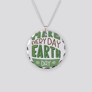 Every Day Earth Day Necklace Circle Charm