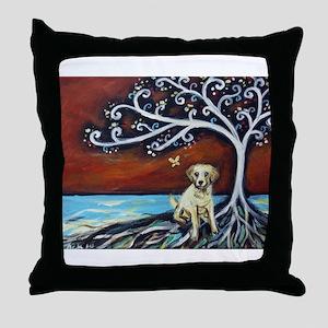 Yellow Labrador Tree of Life red Throw Pillow