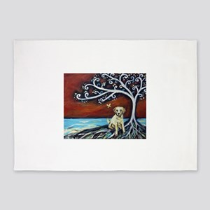 Yellow Labrador Tree of Life red 5'x7'Area Rug