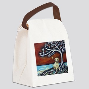 Yellow Labrador Tree of Life red Canvas Lunch Bag