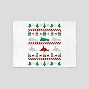 go kart ugly christmas sweater 5'x7'Area Rug