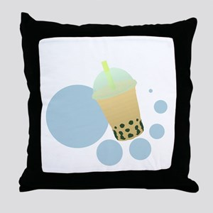 Mango Bubble Tea Throw Pillow