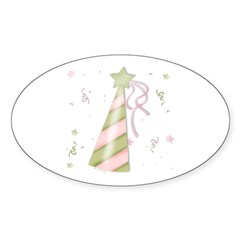 Birthday Party Hat Oval Decal