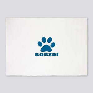 Borzoi Dog Designs 5'x7'Area Rug