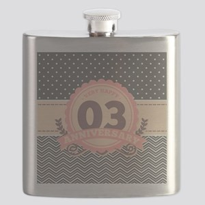 3rd Anniversary Gift Chevron Dots Flask