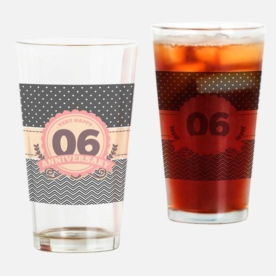 6th Anniversary Gift Chevron Dots Drinking Glass