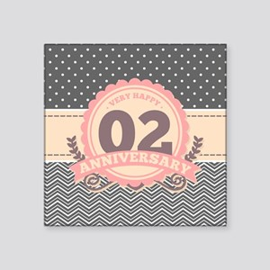 "2nd Anniversary Gift Chevro Square Sticker 3"" x 3"""