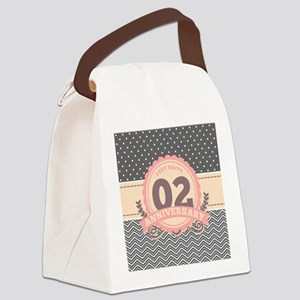 2nd Anniversary Gift Chevron Dots Canvas Lunch Bag