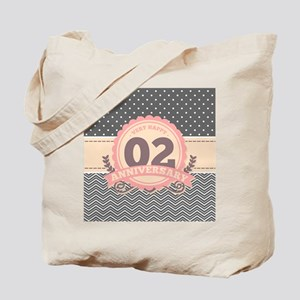 2nd Anniversary Gift Chevron Dots Tote Bag
