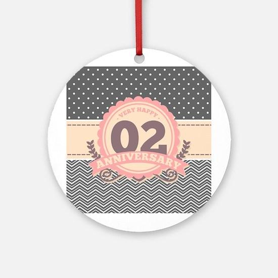 2nd Anniversary Gift Chevron Dots Round Ornament
