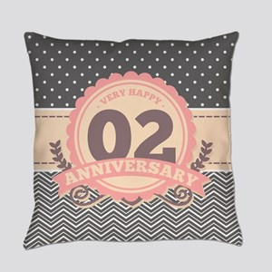 2nd Anniversary Gift Chevron Dots Everyday Pillow