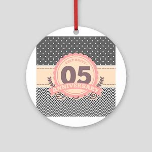 5th Anniversary Gift Chevron Dots Round Ornament