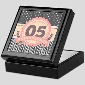 5th Anniversary Gift Chevron Dots Keepsake Box