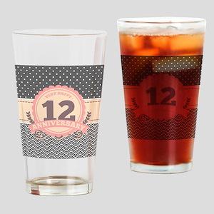 12th Anniversary Gift Chevron Dots Drinking Glass
