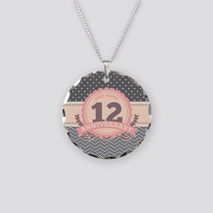 12th Anniversary Gift Chevro Necklace Circle Charm