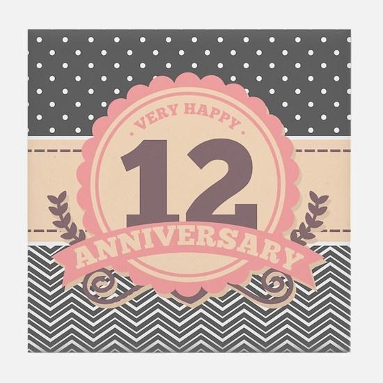 12th Anniversary Gift Chevron Dots Tile Coaster