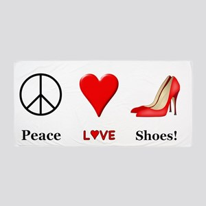 Peace Love Shoes Beach Towel