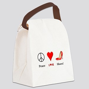 Peace Love Shoes Canvas Lunch Bag