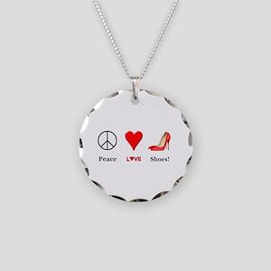 Peace Love Shoes Necklace Circle Charm