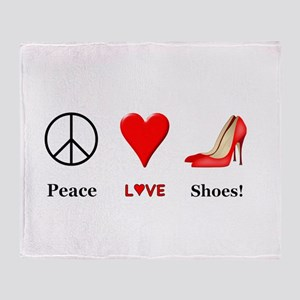 Peace Love Shoes Throw Blanket