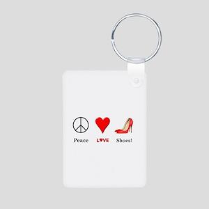 Peace Love Shoes Aluminum Photo Keychain