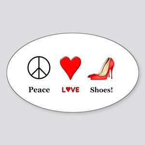 Peace Love Shoes Sticker (Oval)