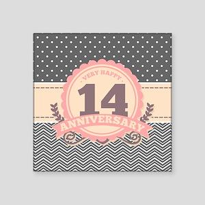 """14th Anniversary Gift Chevr Square Sticker 3"""" x 3"""""""