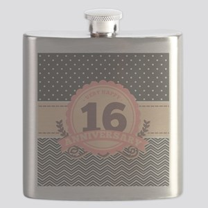 16th Anniversary Gift Chevron Dots Flask