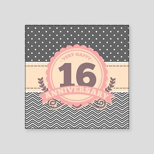 """16th Anniversary Gift Chevr Square Sticker 3"""" x 3"""""""