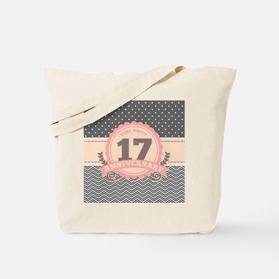 17th Anniversary Gift Chevron Dots Tote Bag