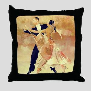 Vintage couple dancers Throw Pillow