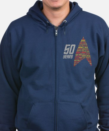 50 Years Captain Names Zip Hoodie (dark)