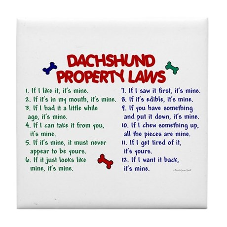 Dachshund Property Laws 2 Tile Coaster
