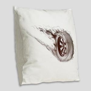 Flaming ghost wheel Burlap Throw Pillow