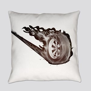 Flaming ghost wheel Everyday Pillow