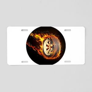 Flaming ghost wheel Aluminum License Plate