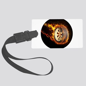 Flaming ghost wheel Large Luggage Tag