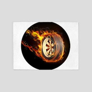 Flaming ghost wheel 5'x7'Area Rug