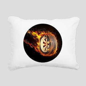Flaming ghost wheel Rectangular Canvas Pillow