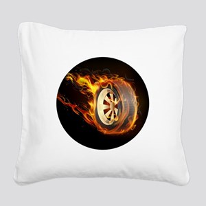 Flaming ghost wheel Square Canvas Pillow