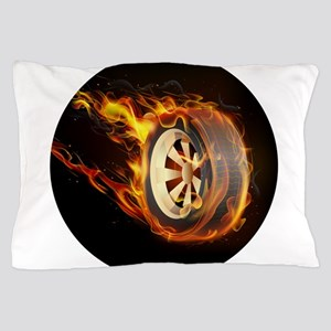 Flaming ghost wheel Pillow Case