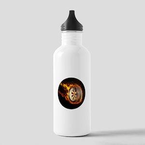 Flaming ghost wheel Sports Water Bottle